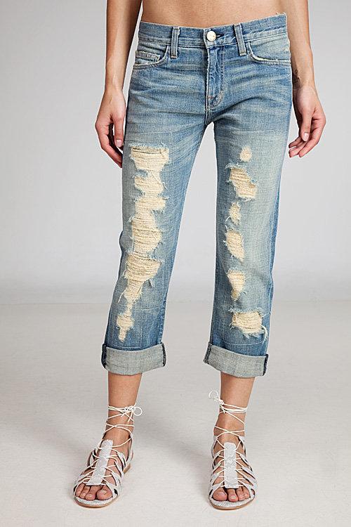 Current/elliott Boyfriend Tattered Jeans