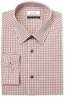 Calvin Klein Salmon Plaid Slim Fit Dress Shirt