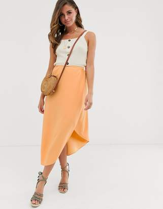 Asos Design DESIGN soft asymmetric wrap midi skirt