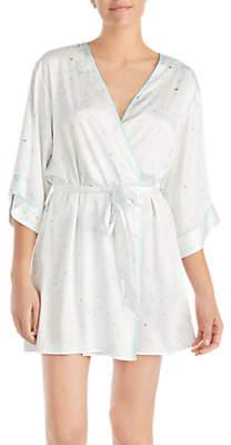 Kate Spade Bridal Gold Dot Dressing Gown, Ivory/Blue