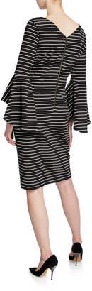 Iconic American Designer Striped Bell-Sleeve Sheath Dress