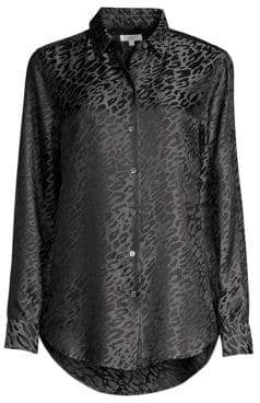 Equipment Essential Leopard Jacquard Silk-Blend Blouse