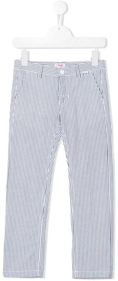 pinstripe pattern trousers