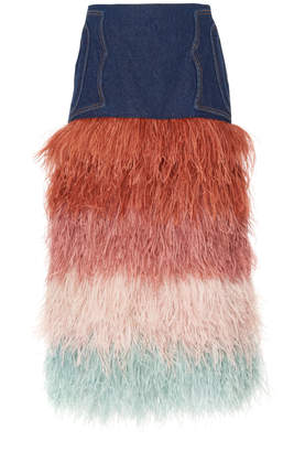 Johanna Ortiz A Visit To Fairyland Denim And Feather Skirt