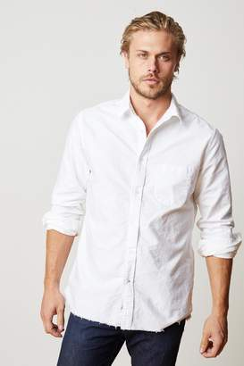 Velvet by Graham & Spencer JIMMY LONG SLEEVE COTTON RAW EDGE BUTTON-UP