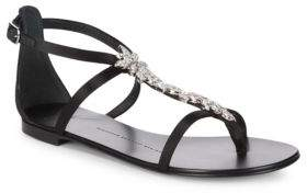 Giuseppe Zanotti Crystal Leaf Metallic Leather Sandals