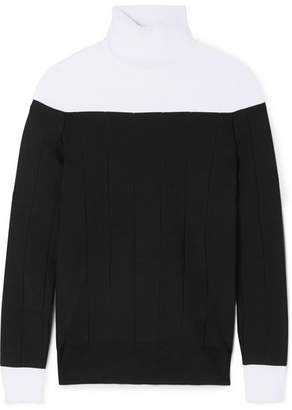Givenchy Two-tone Ribbed Stretch-knit Turtleneck Sweater - Black