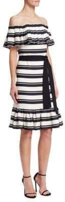 Halston Off-The-Shoulder Stripe Flounce Dress