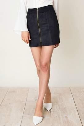 Pretty Little Things Zipper Suede Skirt