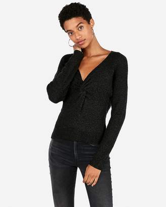Express Twist Front V-Neck Sweater