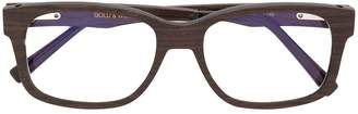 Gold And Wood chunky square frame glasses