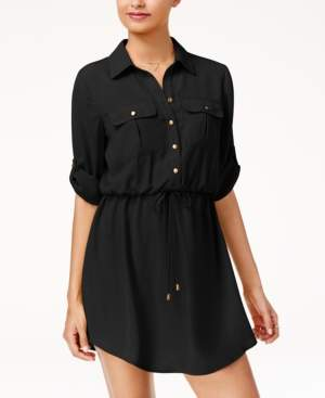 BeBop Juniors' Roll-Tab Shirt Dress with Utility Pockets