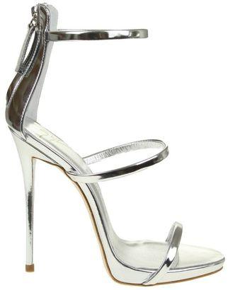 Giuseppe Zanotti Silver Sandals Harmony $590 thestylecure.com