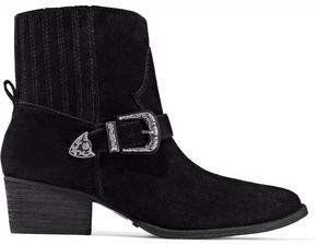 Schutz Buckle-Embellished Suede Ankle Boots