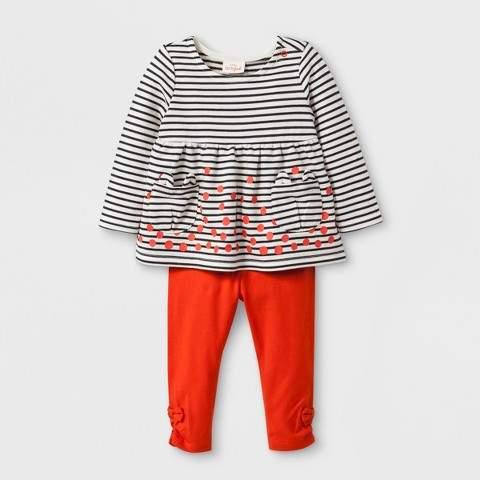 Cat & Jack Baby Girls' 2pc Long Sleeve Stripe Pocket Tunic with Leggings - Cat & Jack Orange