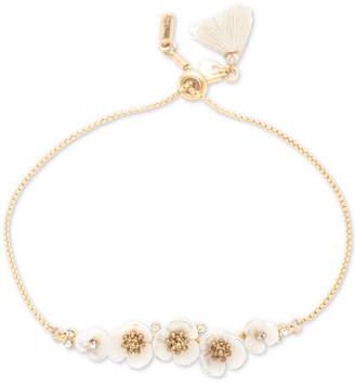 lonna & lilly Gold-Tone Crystal & Imitation Mother-of-Pearl Flower Slider Bracelet