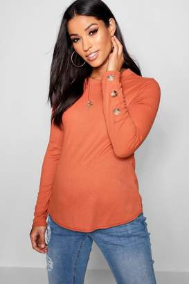 boohoo Maternity Soft Rib Horn Button Long Sleeve Top