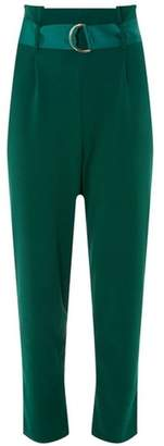 Dorothy Perkins Womens **Green D-Ring Tapered Leg Trousers