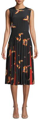 Diane von Furstenberg Talita Bird-Print Silk Pleated Sleeveless Dress