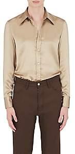 Maison Margiela Men's Silk Satin Dress Shirt - Beige, Tan