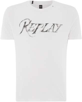 Replay Men's Printed T-Shirt With Distressed Details