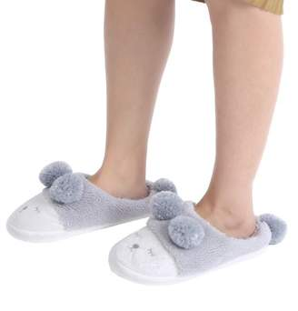 Estink Winter Warm Casual Shoes Cute Cartoon Soft Indoor Home Wear Slippers for Women Grey 38-39