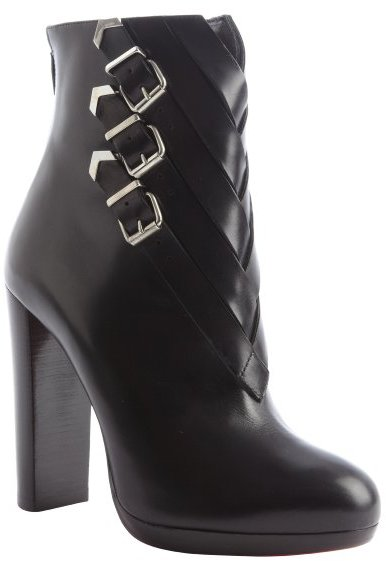 Christian Louboutin black leather buckle weave detail heel boots