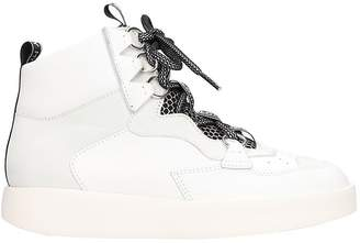 Grey Mer White Leather Mid Sneakers