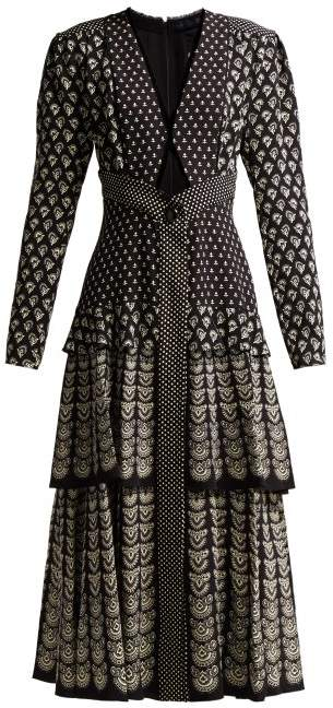 Fan Print Cut Out Crepe Midi Dress - Womens - Black Multi