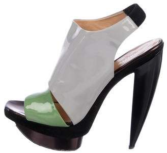 Pollini Patent Leather Platform Sandals
