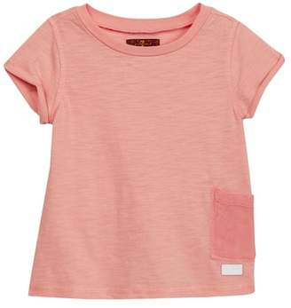 7 For All Mankind Garment Dyed Pocket Tee (Little Girls)