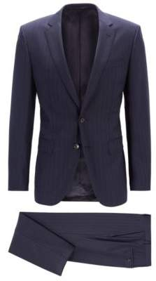 BOSS Hugo Slim-fit suit in vertical-striped virgin wool 34R Dark Blue