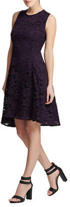 DKNY Floral Lace Fit--Flare Dress
