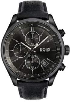 BOSS Chronograph Grand Prix Black IP Leather Strap Watch
