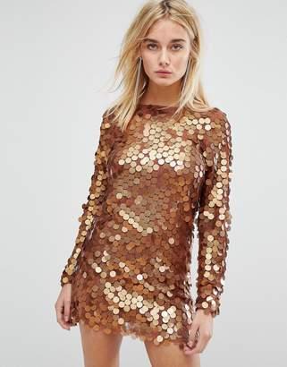 Motel Mini Dress In Shimmer Disc Sequin