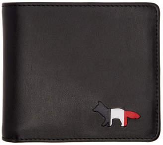 MAISON KITSUNÉ Black Tricolor Logo Wallet