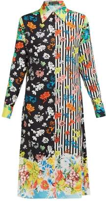 Versace Stripe And Floral Print Silk Jacquard Shirtdress - Womens - Black Multi