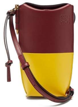 Loewe Gate Bi Colour Leather Necklace Bag - Womens - Burgundy Multi