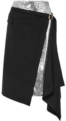 Monse Asymmetric Sequined Crepe And Wool-blend Twill Midi Skirt - Black