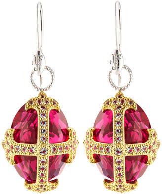 Jude Frances Fleur-over-Stone Drop Earrings in Red Quartz