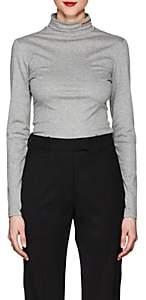 Calvin Klein Women's Logo Embroidered Turtleneck Top-Light Gray Melange