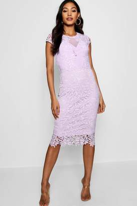 boohoo Lace Mesh Deatil Cap Sleeve Midi Dress