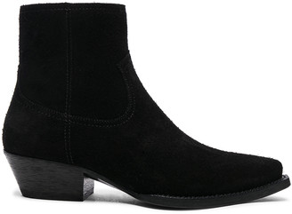 Saint Laurent Suede Lukas Western Boots in Black | FWRD