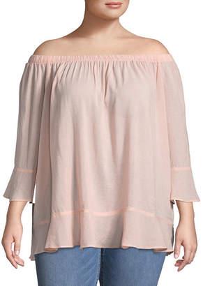Boutique + + Off the Shoulder 3/4 Sleeve Woven Blouse - Plus