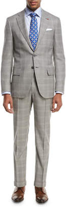 Isaia Plaid Super 130s Wool Two-Piece Suit, Light Gray