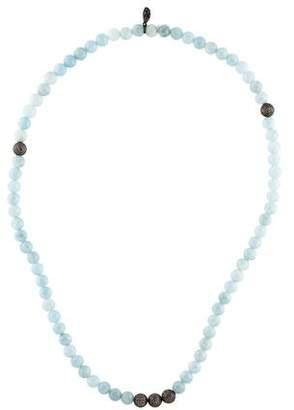 Sheryl Lowe Aquamarine & Diamond Pavé Bead Necklace