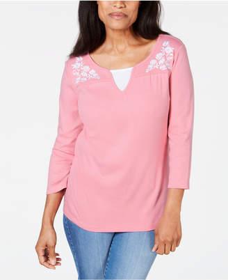 Karen Scott Embroidered Cotton Layered-Look Top