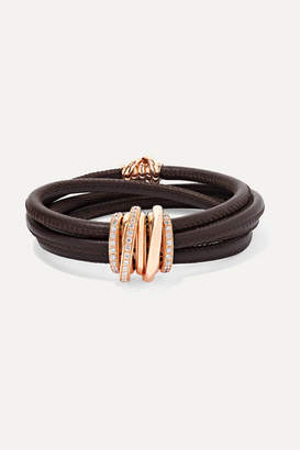 de Grisogono Allegra Leather, 18-karat Rose Gold And Diamond Bracelet - one size