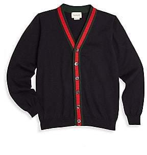 Gucci Little Boy's& Boy's Web-Trim Cotton Cardigan
