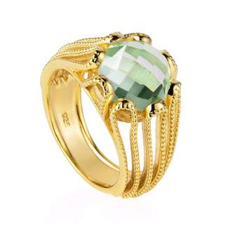 Neola - Alessia Gold Cocktail Ring with Green Amethyst